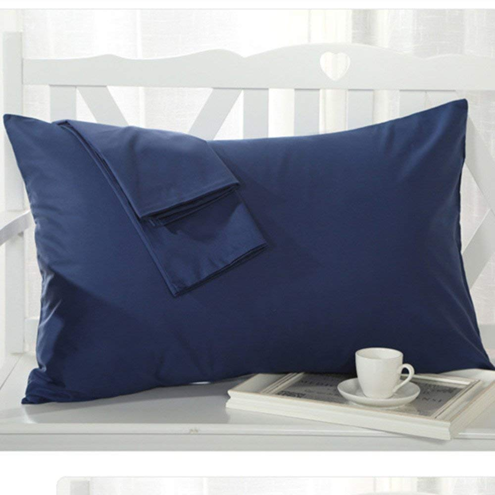 Set of 2 - Kid's/Toddler/Travel Pillowcase 500 Thread Count 12''x16'' Size, Navy Blue, Solid, with 100% Egyptian Cotton