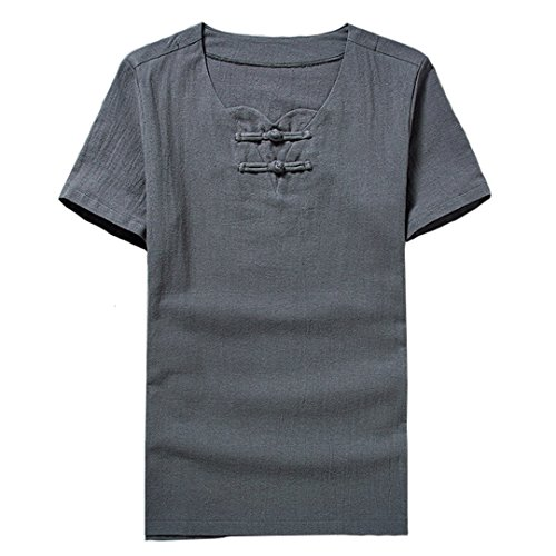 [XINXIKEJI] ティーしゃつ メンズ 半袖 ティシャツ メンズ tシャツ メンズ 半袖 綿麻リネン ビジネス tシャツ 無地 おしゃれ カジュアル シャツ ゴルフウェア 上着 通勤 通学 運動 日常用 M-5XL