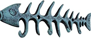 Moby Dick Nautical Coastal Fish Bones Cast Iron Wall Hook Peg Decor Teal Black