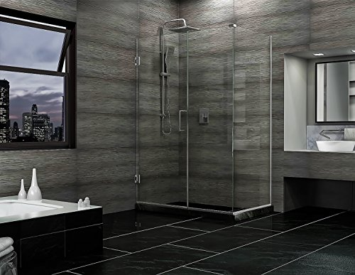 DreamLine Unidoor Plus 34 3/8 in. D x 35 in. W, Frameless Hinged Shower Enclosure, 3/8'' Glass, Chrome Finish by DreamLine (Image #3)