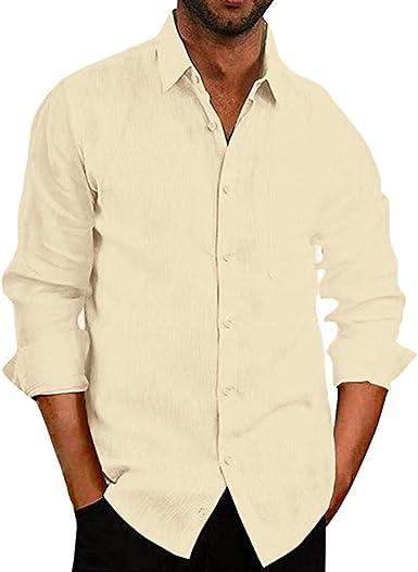 CAOQAO Camisas Hombre Manga Larga Mezcla de algodón Holgado S-3XL Blanco Negro Azul Amarillo: Amazon.es: Ropa y accesorios