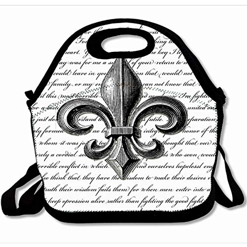 Ahawoso Reusable Insulated Lunch Tote Bag Fleur De Lis New Orleans Design 10X11 Zippered Neoprene School Picnic Gourmet Lunchbox