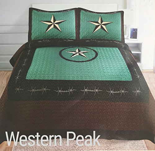 (Western Peak 3 Piece Western Texas Lone Star Cabin Lodge Barb Wire Luxury Quilt Bedspread Coverlet Comforter Turquoise Brown Set)