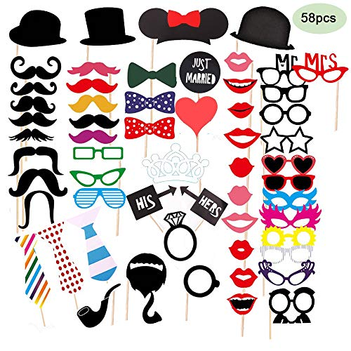 58pcs Photo Booth Props for Birthday,Wedding, Graduation, Party, Photo Booth Novelty Dress Up Accessories Party Decorations Supplies (Suitable for all ages) (Decorations Party Corporate)
