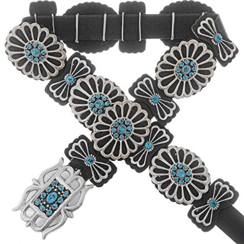 Natural Kingman Turquoise Concho Belt Navajo Sterling Old Pawn Pattern 0049 ()