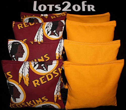 CORNHOLE BEAN BAGS w WASHINGTON REDSKINS fabric NEW!! ()