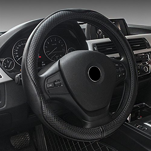 MKLOT Universal Fit Car Steering Wheel Cover - Genuine Leather Heavy Duty Thick Elegant Anti-Slip 37-39CM/15''Steering Wheel Cover - - Polo Black Park Friday