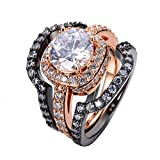 T&T ring 3pcs White Sapphire Ring Sets Black /Rose Gold Filled Fashion Jewelry Wedding Rings Bridal Rings