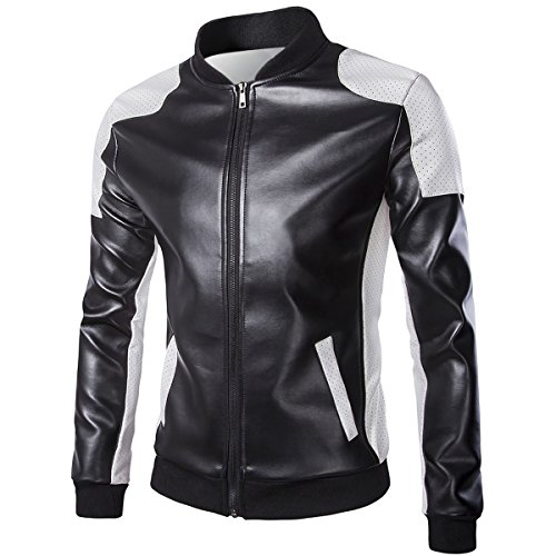 Leather Bomber Style Jacket (Cloudstyle Men's Latticed Baseball Bomber Jacket Slim Fit Coat,Black 1,X-Large)