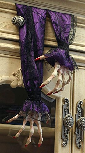 Victorian Trading Co. Scary Halloween Witch Hands Decoration Purple Sleeves -