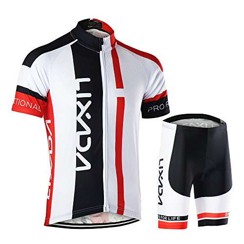 064720d92 Lixada Men s Cycling Jersey Set Breathable Quick-Dry Short Sleeve Biking  Shirt with 15D Padded Shorts MTB Road Bike Cycling Clothing Set - Buy  Online in ...