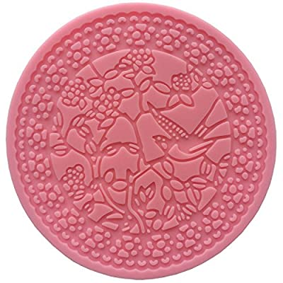 Round Filigree Lacework Bird on a Blossom Tree Sugarcraft icing Lace Mould Cake Cupcake Decoration Tool Cookie Pastry Fondant Silicone Mold ( 304 ) Diametre 12cm