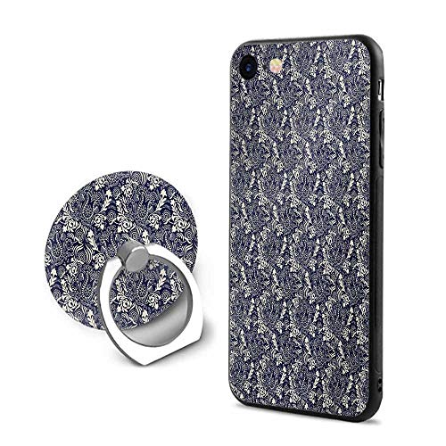 Persian iPhone 6 Plus/iPhone 6s Plus Cases,Middle Eastern Inspirations with Curved Leaves and Flowers Blooming Nature Navy Blue Cream,Mobile Phone Shell Ring - Curved Coffee Blue Flower