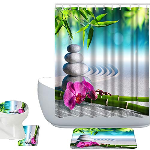 Amagical Zen Garden Theme 16 Piece Shower Curtain Set Bathroom Mat Set Orchid Flowers and Stones in Zen Garden Sunny Day Pattern Bath Mat + Contour Mat + Toilet Cover + Shower Curtain and 12 Hooks from Amagical