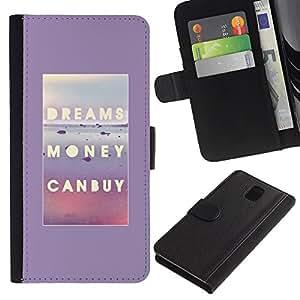 KingStore / Leather Etui en cuir / Samsung Galaxy Note 3 III / Peuvent acheter une affiche de texte