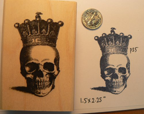 P35 Skull with crown rubber stamp (Stamp Skull)