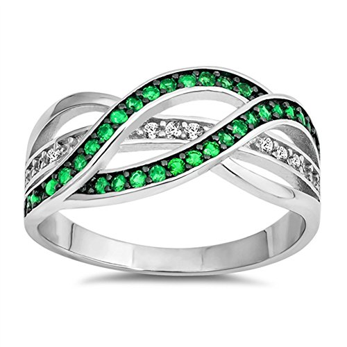 Simulated Emerald Criss Cross Friendship Ring New .925 Sterling Silver Band Size 8