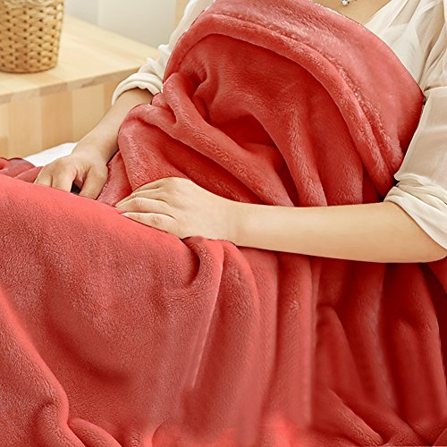 Twin Extra Long Blanket, Somewhere Luxury Super Soft Warm Fuzzy Plush Polyester Coral Fleece Throw, Lightweight Couch Bed Blanket, Easy Care-Twin, Coral (Cheap Prices Daybed)