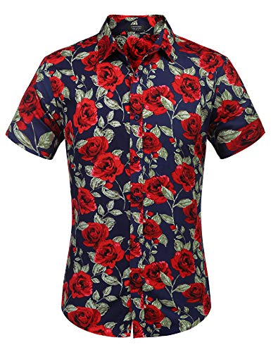 - COOFANDY Men's Cotton Floral Printed Shirt Hipster Rose Graphic Button Shirt