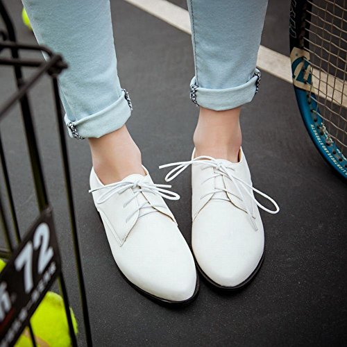 White Pointed toe Heel Shoes Lace Oxford Chunky Womens Low up Fashion Latasa q6PwEP