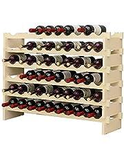 DlandHome 4/6 niveaus voor 32/48/60 flessen wijnrek wijnrek flessenrek hout voor bar, keuken