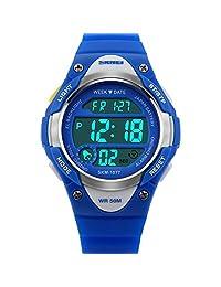 Kids Watch Sport Digital LED Multifunction Watches for Child 50M Waterproof Alarm Quartz Wrist Watch for Boys