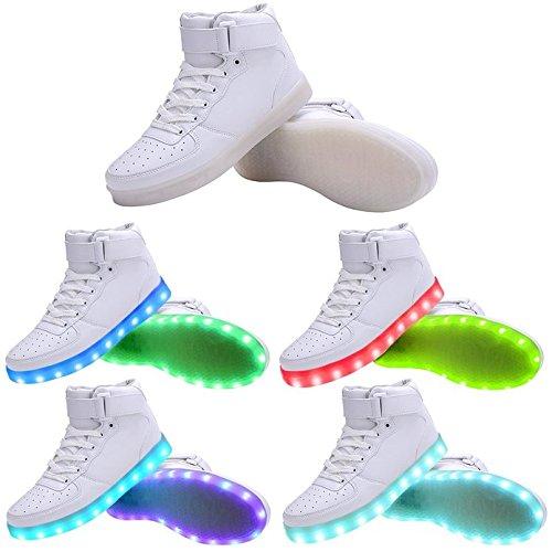 Hi-Top LED Zapatos 7 Colores que Cambian con el Brillo de USB Recargables -Niño/Adulto(rosa / blanco / negro / rojo) Blanco