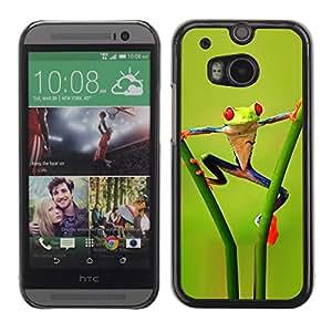 TopCaseStore / la caja del caucho duro de la cubierta de protección de la piel - Funny Aerobatics Jungle Frog - HTC One M8