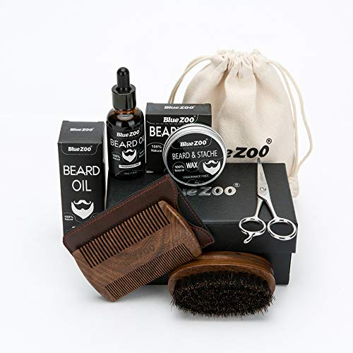 Beard & Mustache Brush, Comb and Oil Kit for Men – Boar Bristle Beard Brush, Sandalwood Oval Comb, Unscented Beard Oil, Beard Balm Butter Wax, Beard Trimming Scissors- Facial Hair Care Gift Set