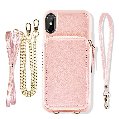 iPhone Xs Max Wallet Case, ZVE iPhone Xs Max Case with Credit Card Holder Slot Crossbody Chain Handb - coolthings.us