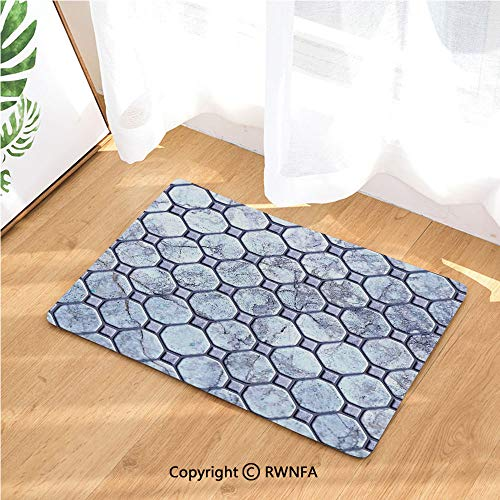 (Indoor Doormat Retro Marble Tiled Spiral and Round Circular Bound Tied Old Fashion Shapes Absorbs Water Latex Backing Door Mat for Small Front Door Inside Mat Entrance Rug Carpet,Grey)