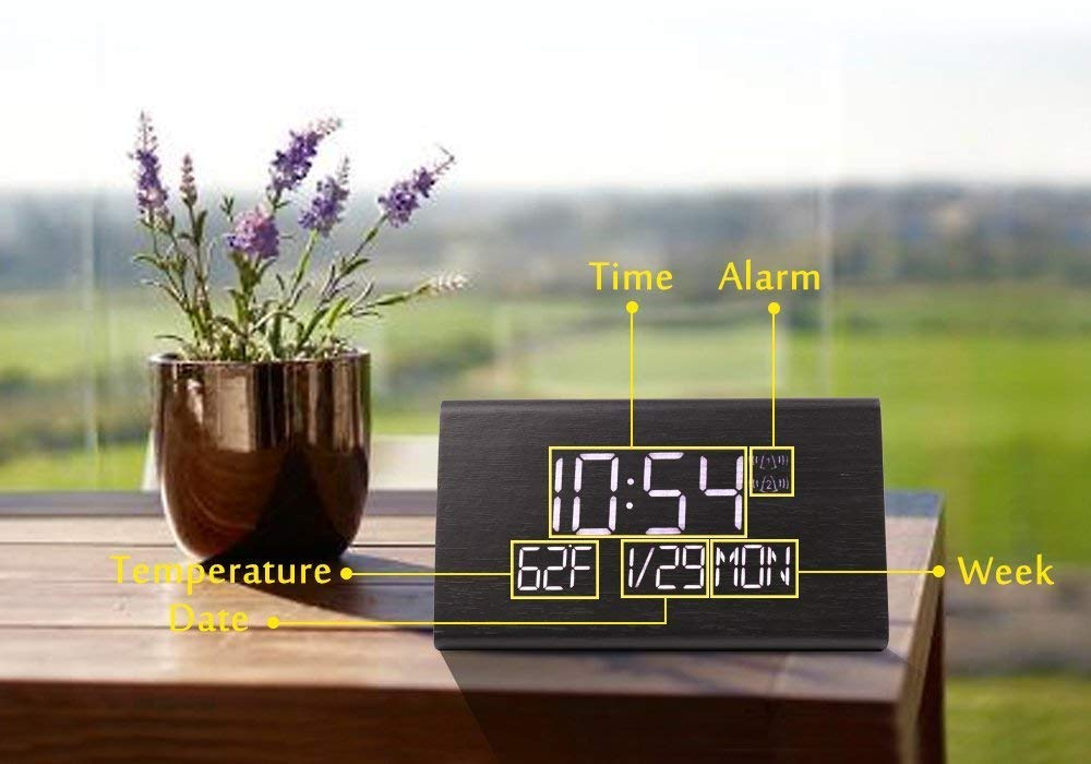 Warmhoming Wooden Digital Alarm Clock with 7 Levels Adjustable Brightness Display Time Date Week Temperature for Bedroom Office Home Voice Command Electric LED Bedside Travel Triangle Alarm Clock