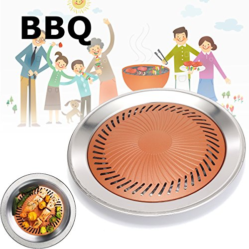 Barbecue Stovetop (Janolia Korean Stovetop, Non-Stick Smokeless Roasting Round Barbecue Grill Pan, No Oil or Butter Needed, Gotham Steel, Made with Titanium and Ceramic, for Indoor Outdoor BBQ, Delicious Roasted Food)