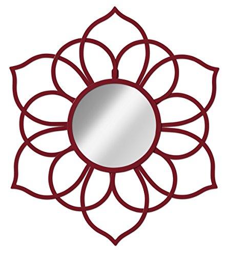 Kate and Laurel 208703 Brienne Metal Flower Round Wall Accent Mirror, - Red Mirror Round