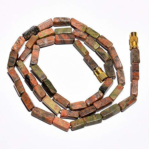 (Unique Beads Natural Unakite Gemstone Square Tube Beads Barrel Clasp Necklace 17