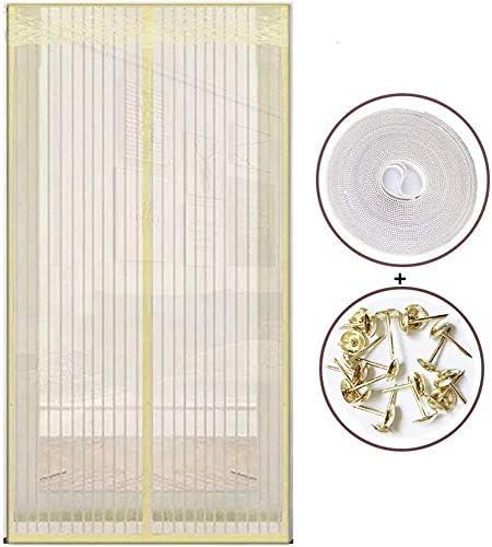蚊帳 カーテン自動磁気スクリーンドア、飛ぶ昆虫のドアスクリーンメッシュ、抗蚊または抗害虫磁気ソフトドア用の超静かなストライプ暗号化,ベージュ,70x200cm,Beige,85x210cm