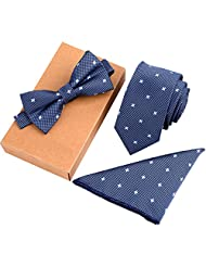 Mens Fashion Polyster Skinny Neck ties and Bowtie Pocket Square 3pcs Set for Gifts (10)