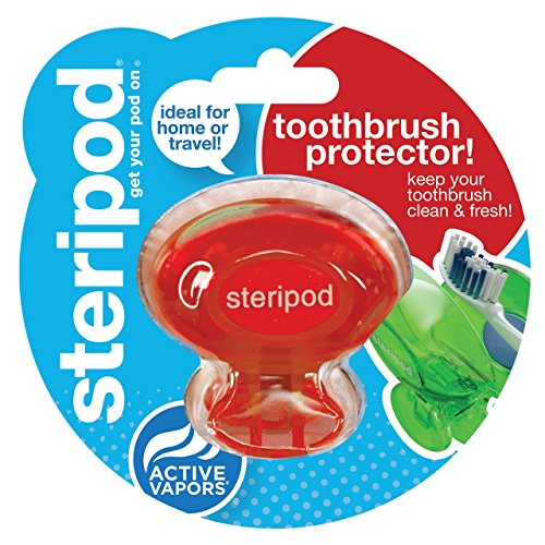 Steripod Clip-On Toothbrush Sanitizer, Red, 2-pack