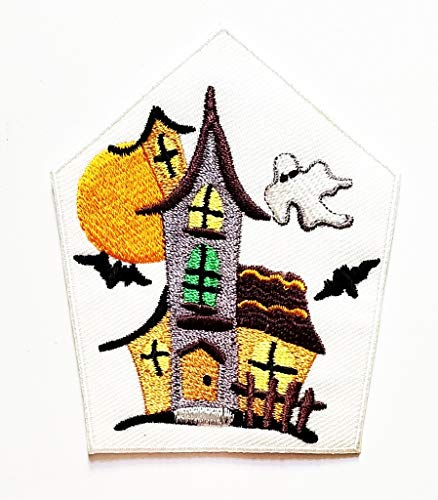 PP Patch Haunted House Abandoned House Bat Vampire Halloween Day Cartoon Iron on Patch Jacket T Shirt Patch Sew Iron on Embroidered Sign Gift Costume Sewing Applique