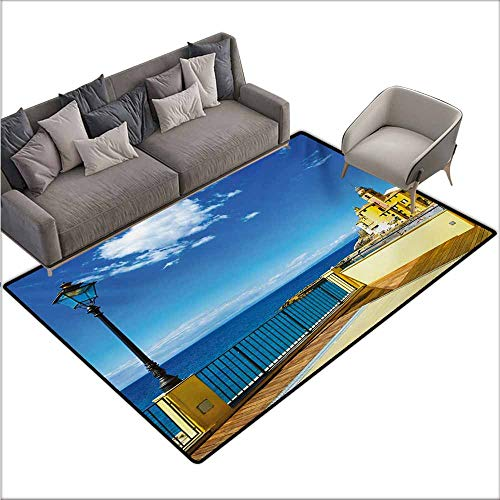 Door Rug for Internal Anti-Slip Rug Italian Camogli Building Sea Lamp and Balcony Tourist Spot in Ligury Italy Print with Anti-Slip Support W78 xL94 Blue White and Yellow