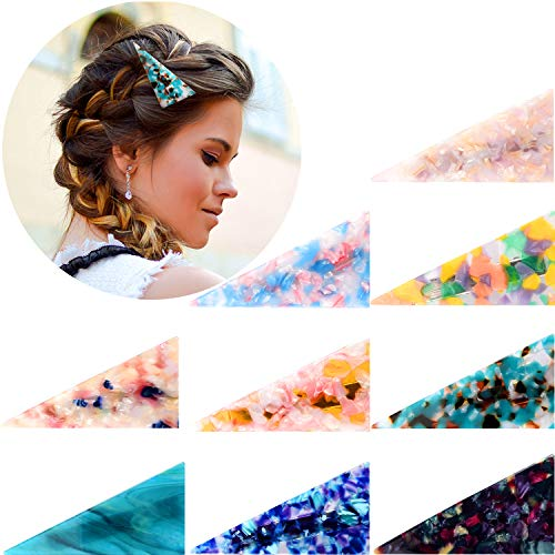 9 Pieces Acrylic Resin Hair Barrettes Alligator Hair Clips Marble Hairpins Triangle Shape Hair Clips for Women Girls Daily and Party Wearing