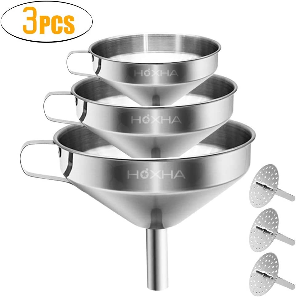 Stainless Steel Kitchen Funnel with Removable Strainer/Filter for Essential/Cooking Oils, Food Grade 3 Set Metal Funnels for Transferring of Liquid, Fluid, Dry Ingredients & Powder, HOXHA (3 Packs)