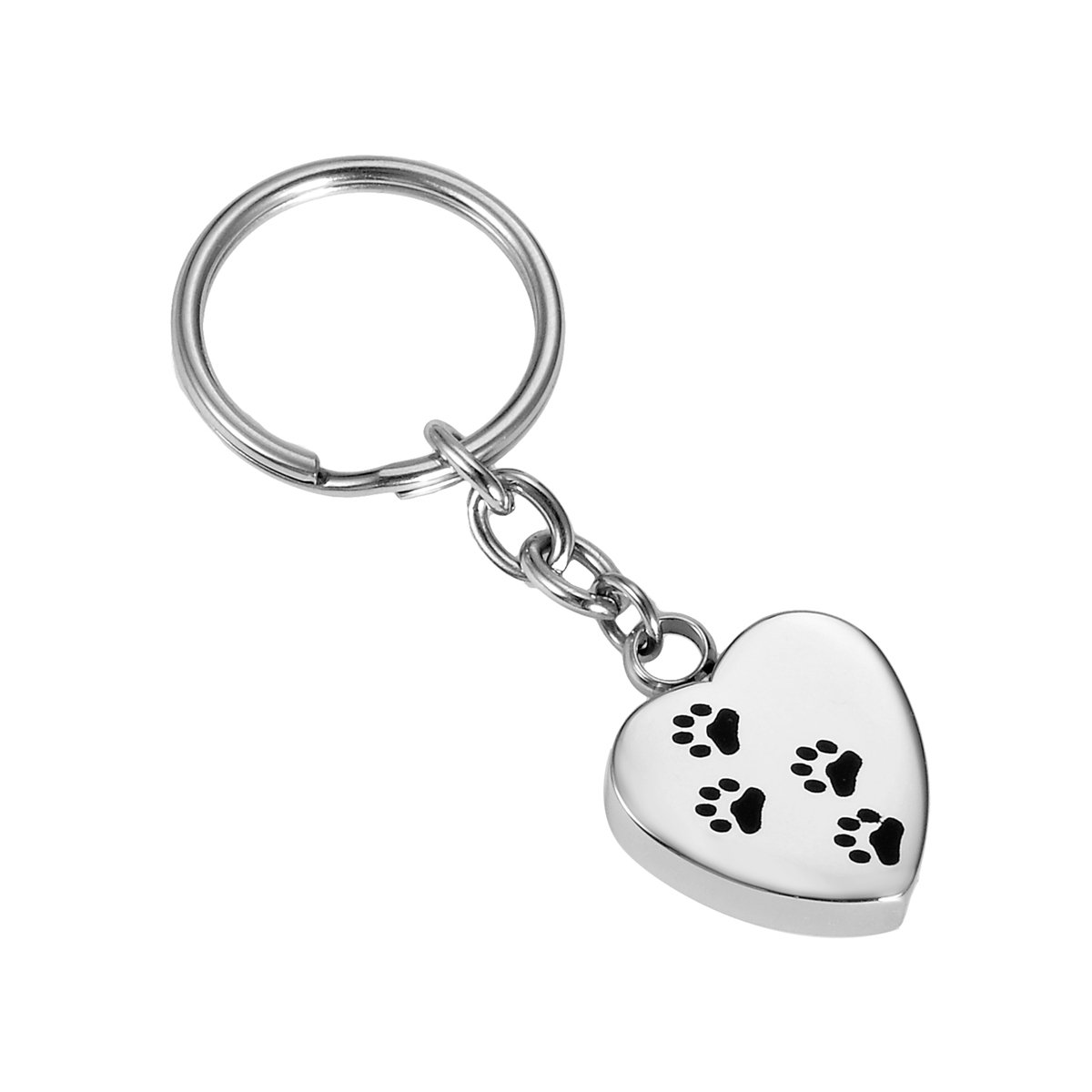 Housweety Pet Paw Dog Paw Love Heart Ash Holder Memorial Jewelry Stainless Steel Cremation Keychain