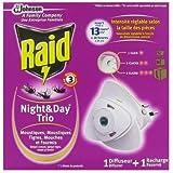 Raid- Insecticide - Diffuseur électrique + 1 recharge Night & day Trio - anti-moustiques, moustiques tigres, mouches et fourmis