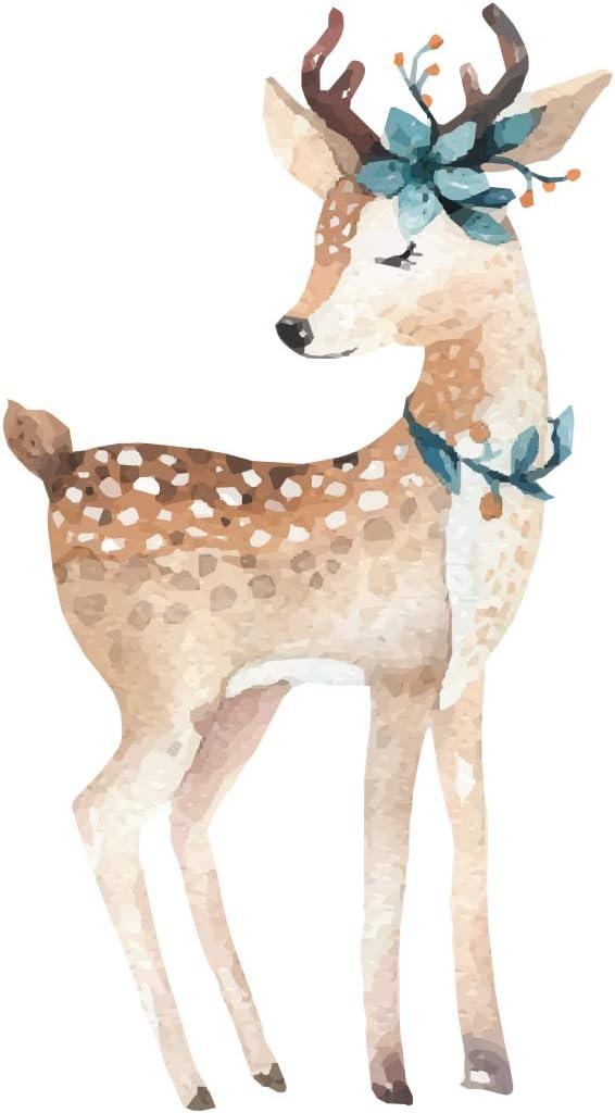 Pegatina de pared en acuarela habitación infantil Bonito ciervo con decoración de flores aspecto acuarela cuarto de bebé vida animal nena chiquillo bordadoras cuarto de chicas acuarelas de colores: Amazon.es: Bebé