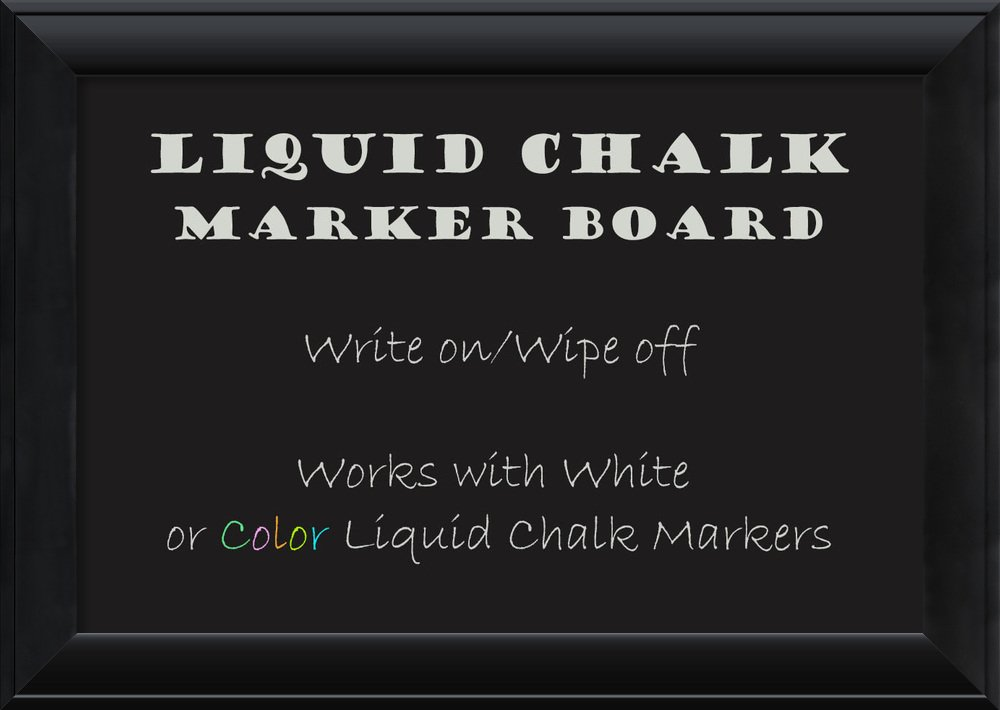 Framed Liquid Chalk Marker Board Medium, Nero Black: Outer Size 28 x 20'' by Amanti Art (Image #1)