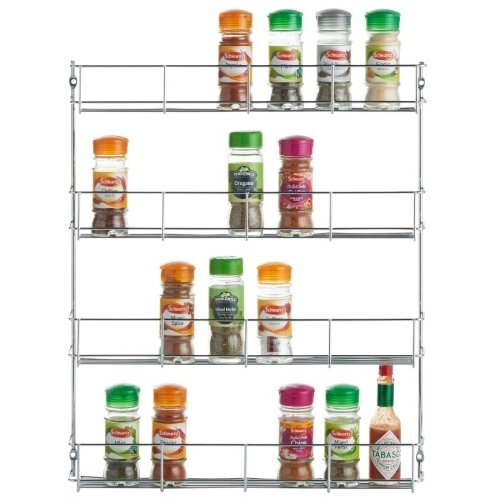 Kabalo Stainless Steel 4 Tier Spice Herb Jar Rack Organiser Stand Cooking For Kitchen Cupboard Door Wall Mount Storage Unit