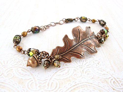 Antique Copper Autumn Oak Leaf Bracelet with Iridescent Green Czech Glass Beads Custom Length