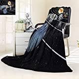 YOYI-HOME Cotton Thermal Duplex Printed Blanket,Solar System with Eight Planets Soft and Breathable Cotton/47 W by 31.5'' H