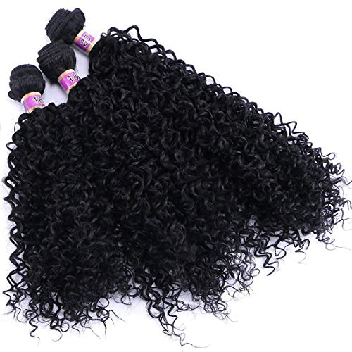 (Kinky Curly Synthetic Hair Weave 3 Bundles 16 18 20 Inches Black Synthetic Hair Extensions )